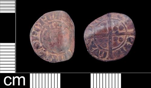 LON-A30994: A very worn Medieval silver long cross penny, continental imitation, of Gaucher of Chatillon dating to AD 1313-1322.