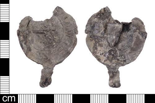 LON-AE4737: An incomplete Post Medieval lead alloy Cloth Seal dating from the 17th century.