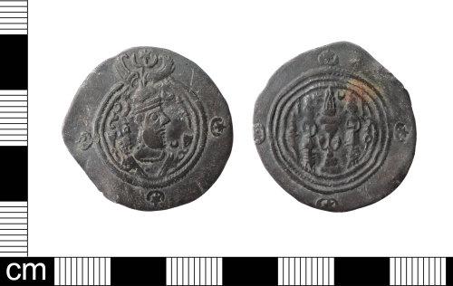 LON-B2F5CF: Silver drachm of Khosrow II (also know as Khusro II, Chosroes II or Khusraw Parvēz), Sasanian king in Iran, AD 590-628. Mint LAM= Ram Hormuz in southwestern Iran.