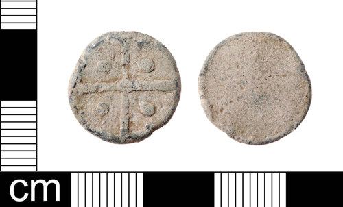 LON-BAE857: A Medieval to Post-Medieval, uniface, lead alloy token dating from AD 1250-1800. This is a Powell type 14 token.