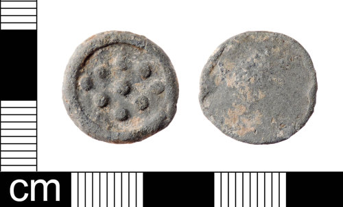 A resized image of A Medieval to Post-Medieval lead alloy uniface token dating from AD 1250-1800. This is a Powell type 30 token.