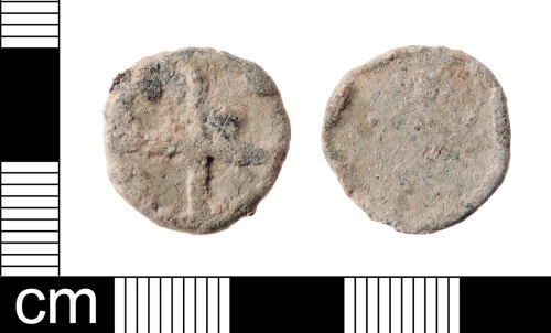 A resized image of A Medieval to Post-Medieval lead alloy uniface token dating from AD 1250-1800. This is a Powell type 14 token.