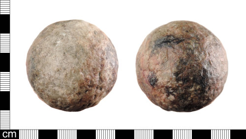 LON-D79394: A complete stone Late Medieval or Post Medieval cannon ball dating between AD 1450-1750.