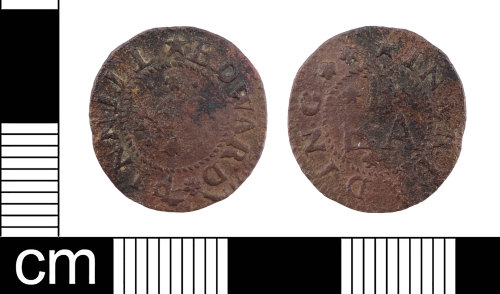 LON-D88C36: A complete English Post-Medieval copper-alloy farthing trade token dating from AD 1665. Issued by Edward Pinnill in Reading. Williamson (1889:34 108).