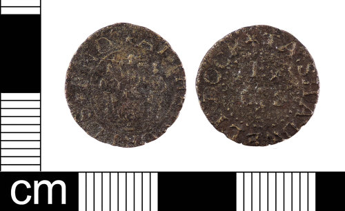 LON-DB3737: A complete English Post-Medieval copper-alloy farthing trade token dating from AD 1648-1674. Williamson (1891:826 178).
