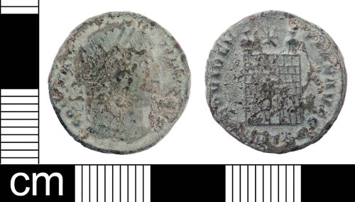 LON-DEB2B4: A Roman copper alloy nummus of Constantine I (AD 306-337) dating to the period AD326-328 (Reece period 16).