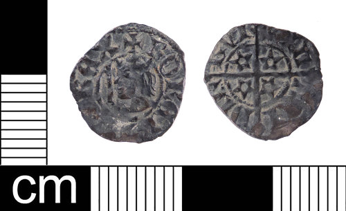 LON-DEBF38: A Medieval silver half penny of Robert II of Scotland (AD 1371-1390), Mint of Edinburgh.