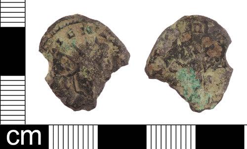 LON-E4F9B4: A Roman copper alloy radiate of Gallienus (AD 253-268).