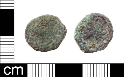 LON-EC2087: An Iron Age copper-alloy unit of the Cantiaci / South Eastern, dating to 50-20 BC, 'Curly Lion' type.