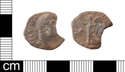 LON-F6DB33: An incomplete silver denarius of Commodus (AD 172-192), mint of Rome issue AD 192, reverse depicting Victory walking left, holding wreath and palm. RIC III, p. 393, cf. no. 237.