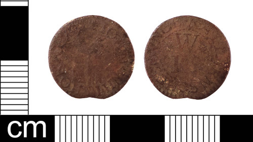 LON-FFBAB4: A complete English Post-Medieval copper-alloy farthing trade token issued by John Whithorne, dating to AD 1648-1674. Williamson (1889:729 no.2631)