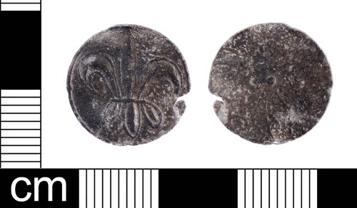 LON-DD74FE: A Medieval lead alloy subsidiary pictorial issue token dating from the period of Henry III - Edward I AD 1250 -1307. Mitchiner & Skinner (1983:72/Pl. 5; no. 66) illustrate a token which bears the same design.