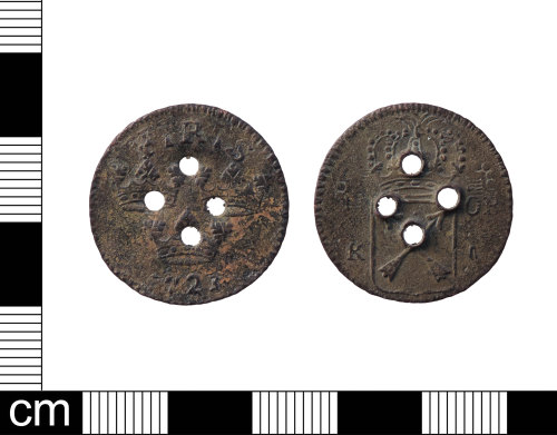 PUBLIC-29C351: A copper alloy post medieval, 18th century, Swedish coin, 1 Öre of Fredrick I Sweden, dated AD.1723, with secondary use as a button