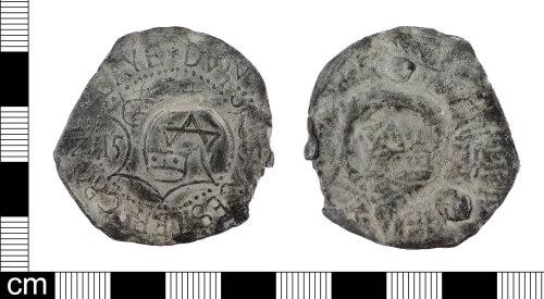 LON-1E5668: A Post medieval lead alloy Colchester Dutch community cloth seal dated AD 1571.