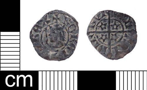 A resized image of A Medieval silver half penny of Robert II of Scotland (AD 1371-1390), Mint of Edinburgh.