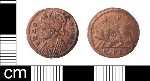LON-EAFAB5: A copper alloy nummus of House of Constantine, commemorative VRBS ROMA issue dating to AD 332.