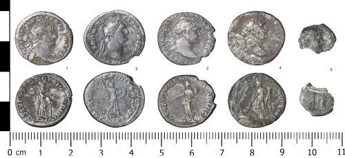WREX-0AACAB: Small hoard of 5 Roman Denarii (1, 3 & 4 - Trajan; 2 - Domitian; 5- unident)