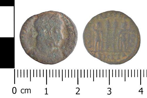 WREX-10E317: Copper alloy nummus of House of Constantine (Reece period 17)