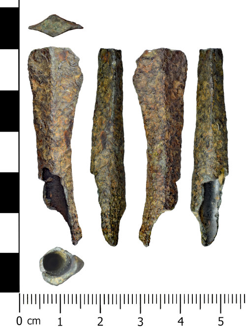 WREX-55DFB2: Fragment of a probable middle bronze age spearhead