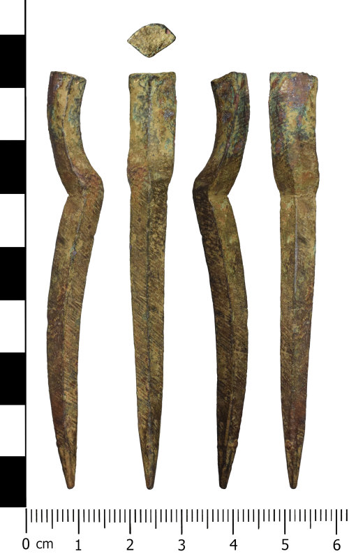 WREX-7D197C: Fragment of a possible pair of post medieval copper alloy dividers