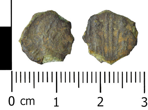 WREX-9985B2: Incomplete copper alloy nummus of the House of Constantine (AD330-335)
