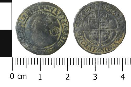 WREX-9E77F1: Silver threepence of Elizabeth I