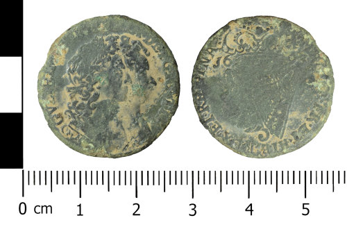 WREX-A8E51D: Cooper alloy Irish halfpenny of William and Mary (1693)