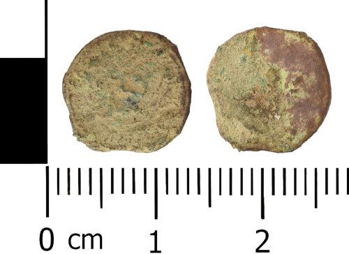 WREX-B8CC26: Very worn copper alloy Roman Nummus possibly AD 355-378