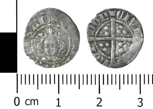 WREX-C96A27: Silver halfpenny of Edward III of the 3rd 'florin' coniage, 1344-1351.