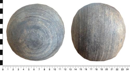 WREX-DC1313: Stone cannon ball of possible Civil War period