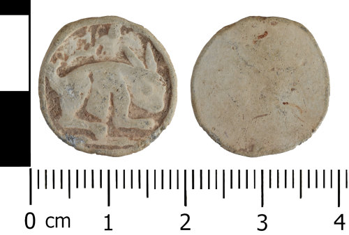 A resized image of Lead alloy token or gaming piece depicting a hare or rabbit.
