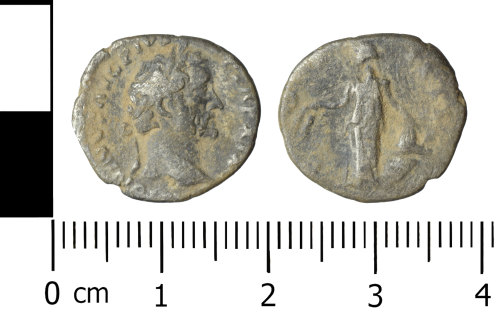 WREX-F0B442: Silver denarius of Antoninus Pius dating to the period AD 155-156 (Reece period 7).