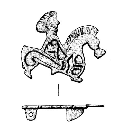 A horse and rider plate brooch, Roman