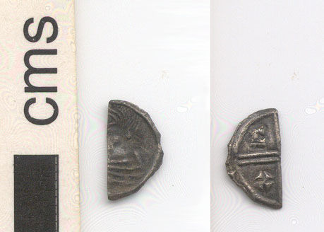 NARC-203432: Early Medieval, Anglo-Saxon coin, a silver cut halfpenny of Aethelred II, obverse and reverse