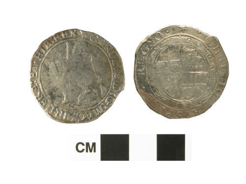 NARC-80B745: Post-medieval coin, a siver halfcrown of Charles I