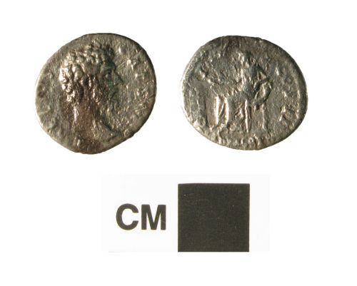 NARC-AC0CA7: Roman coin, a silver denarius of Aelius Caesar