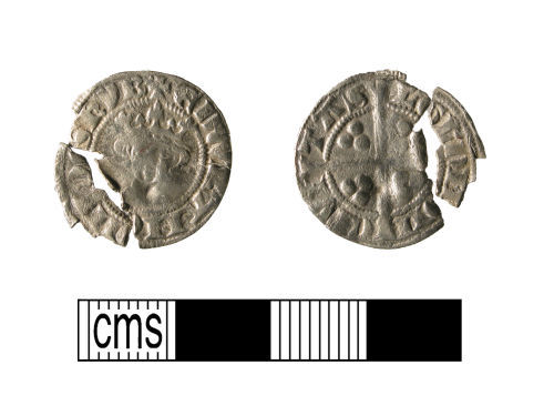 A resized image of Medieval coin, a silver penny of Edward I