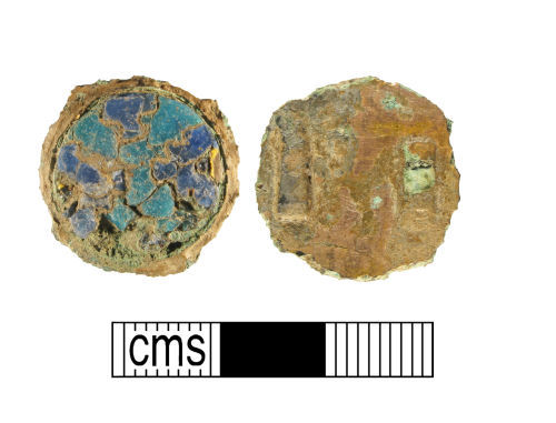 WMID-3CA8B1: Early medieval gilded copper-alloy cloisonné enamel disk brooch