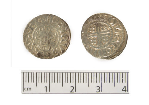 A resized image of Medieval silver coin, a penny of King John