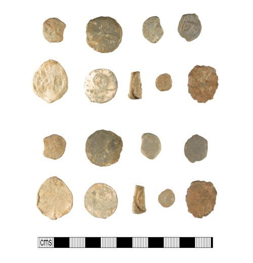 WMID-A56BA3: Group of medieval to post-medieval lead tokens