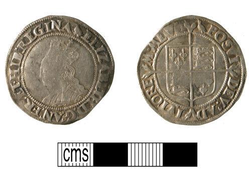 WMID-D76CC1: Post-medieval silver shilling of Elizabeth I