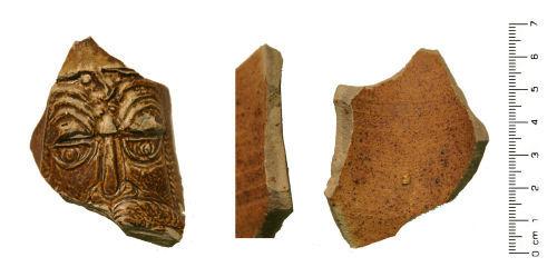 WMID-0BE607: Post Medieval: Salt glazed Stoneware Bellamine Jug vessel sherd