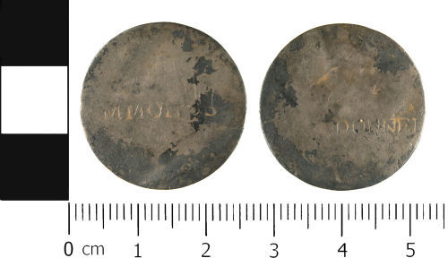 WMID-2FADB7: Post Medieval coin: Shilling of uncertain ruler, polished into a love token, countermarked