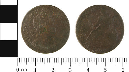 WMID-4786C3: Post Medieval coin: Halfpenny of William III