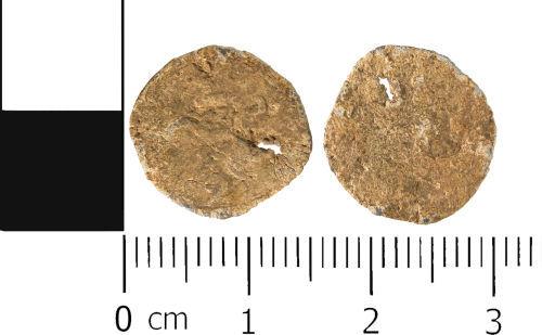 WMID-66E565: Post Medieval: Leaded copper alloy pierced token