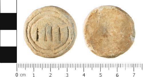 WMID-796032: Post Medieval: Complete circular flat weight 'IIII'