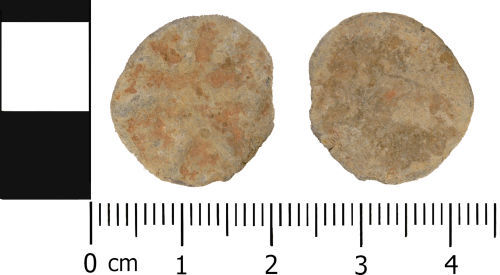 WMID-B3DD6C: Medieval to Post Medieval: Complete unifaced lead token
