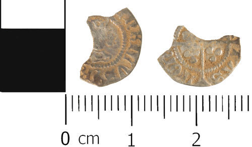 WMID-FFDD07: Medieval coin: Incomplete halfpenny of Henry VI, pinecone mascle issue