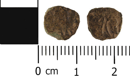 WMID-00A05D: Roman coin: Incomplete nummus, possibly of the House of Valentinian