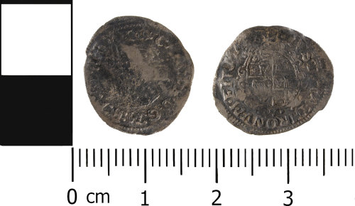 WMID-1304DA: Post Medieval coin: Complete half groat of Charles I